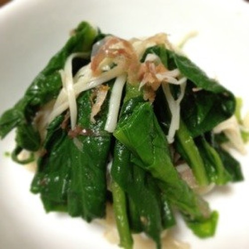 Easy Side Dish! Boiled Spinach and Enoki Mushrooms with Shiro Dashi
