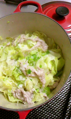 Steamed Cabbage and Pork with Sesame Salt Sauce