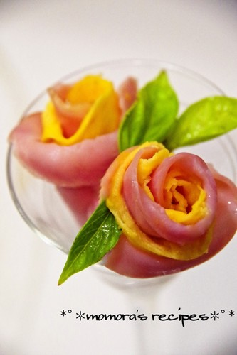 Flowers for Bento - Ham and Egg Roses - An Easy Bento Item