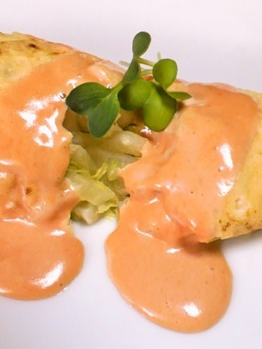 Cabbage Omelette & Pink Yogurt Sauce