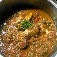 Chicken Wings Stewed in Tomato Sauce with Lentils