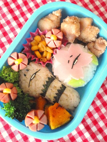 Character Bento: Sakura and Tsukushi (Horsetail Shoots)- Sakura Viewing Bento