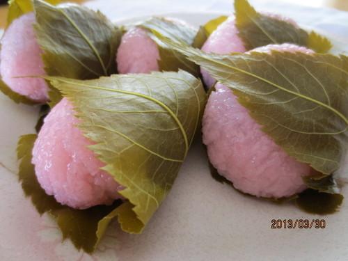 Sakura-mochi with Chunky Sweetened Adzuki Bean Paste