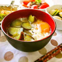 Hearty Eggplant and Harusame Bean Noodle Miso Soup