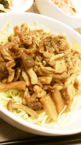 Stir Fried Pork, Shimeji Mushrooms and King Oyster Mushrooms with Oyster Sauce