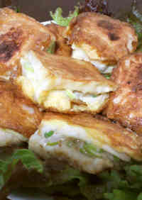 Hanpen Fish Cake Sandwich with Chicken and Green Onions