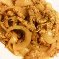 Simple Chopped Pork and Onion Curry Flavored Stir-Fry