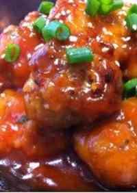 Okara Meatballs with a Thick Ketchup Sauce