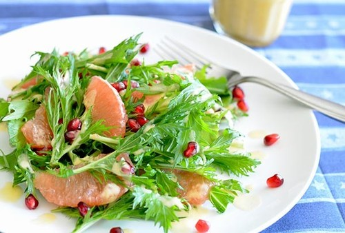 Mizuna or Arugula & Grapefruit Salad