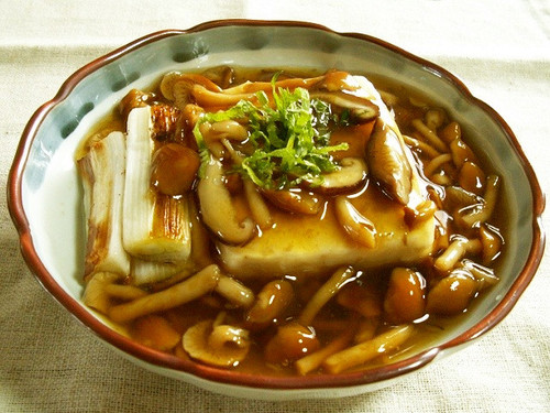 Firm Tofu with Nameko Mushroom Sauce