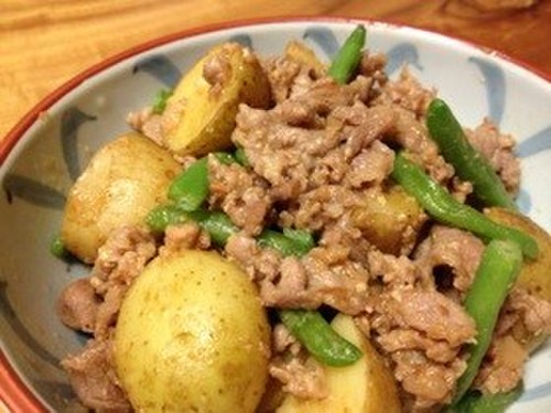 New Potatoes and Pork Offcuts with Miso