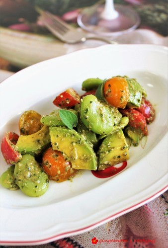 Fava Beans, Avocado and Tomatoes in Basil Sauce