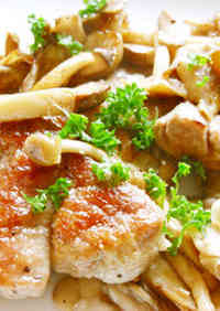 Tender Pork Tenderloin and Mushrooms Sautéed in Butter