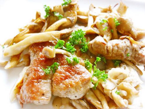 Tender Pork Tenderloin and Mushrooms Sautéed in Butter