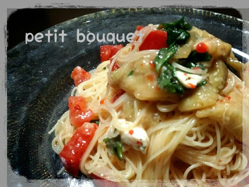 Chilled Cappellini with Grilled Eggplant and Tomatoes