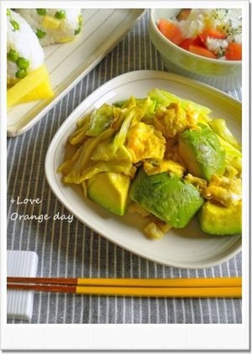 Fried Eggs with Avocado and Cabbage
