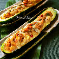 Baked Zucchini with Tuna, Miso, and Cheese