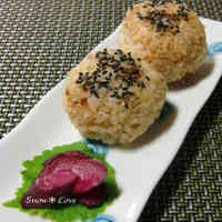 Rice Balls with Soy Sauce, Bonito Flakes and Sesame Salt