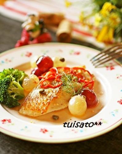Garlic Sautéed White Fish in Grape Sauce
