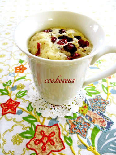 Microwave Cranberry Chocolate Cupcake in a Mug
