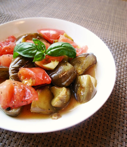 Eggplant & Tomato Salad in a Garlic-Flavored Marinade