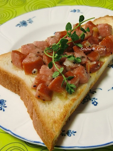 Chopped Sausage and Parmesan Toast