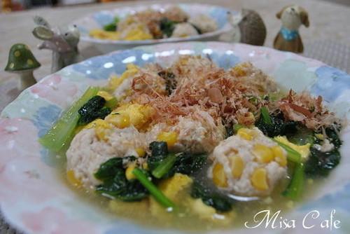 Corn Chicken Meatballs and Komatsuna and Egg Dashi Sauce