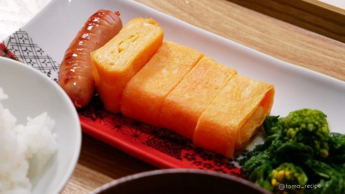 Salmon Pink Tamagoyaki Made with Leftover Sakura Denbu