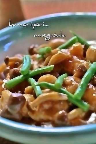 Tender Stewed Chicken and Shimeji Mushrooms in a Sweet and Sour Sauce