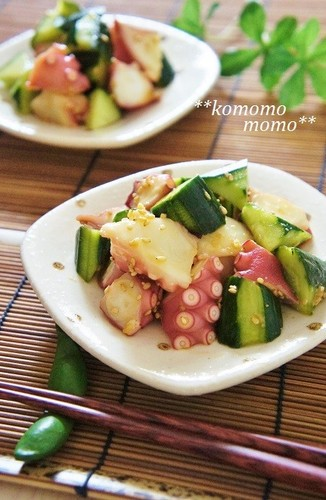 Octopus and Cucumber Marinated in Garlic, Ginger, and Soy Sauce