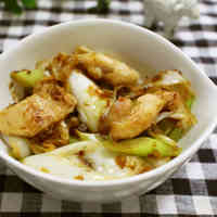 Japanese Leek, Chicken Thigh, and Bonito Flake Stir-Fry
