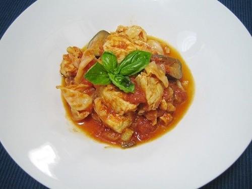 Simmered Chicken & Cabbage with Tomatoes