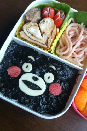 Noriben (Rice Covered with Nori Dipped in Soy Sauce)  with Kumamon, the Kumamoto Prefecture Mascot