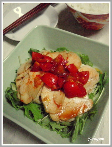 Boiled Chicken with Spicy Hot Tomato Ponzu Sauce