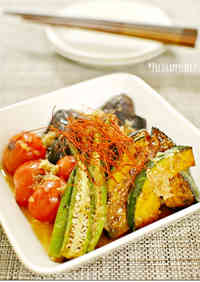 Sautéed Veggies Dressed with Mentsuyu and Grated Daikon