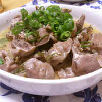 Stir-Fried Chicken Gizzards with Green Onion, Salt, and Lemon
