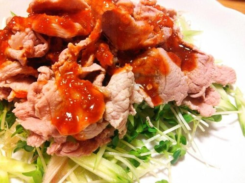 Boiled Pork with Korean Style Red Chili & Vinegar Miso Sauce