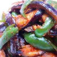 Eggplant & Green Pepper Gochujang Stir-fry