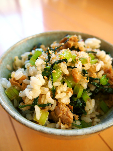 Simple Rice Mix with Komatsuna and Pork Belly