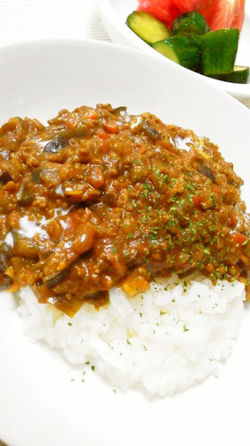 Easy Summer Veggie Keema Curry with Lots of Eggplant
