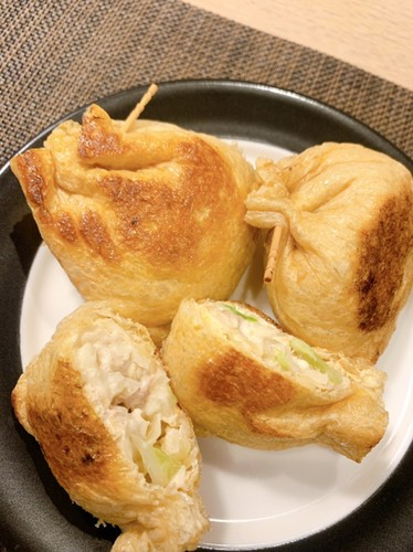Thin-fried Tofu Stuffed with Cabbage Tuna and Cheese