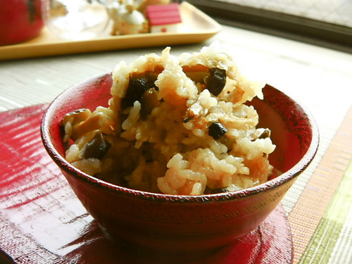 Mixed Rice with Autumn Shimeji Mushroom and Aburaage