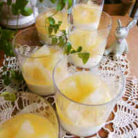 Pear Compote in Jelly With Panna Cotta