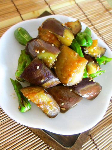 Stir-fried Eggplant and Shishito Peppers