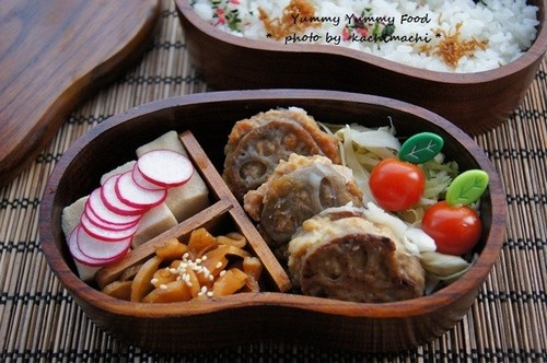 Deep Fried Sandwiched Lotus Root and Chicken Bento