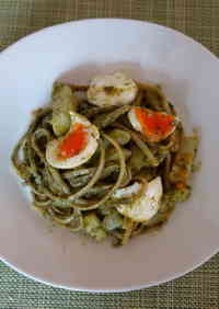 Basil Sauce Pasta with Potato and Boiled Eggs