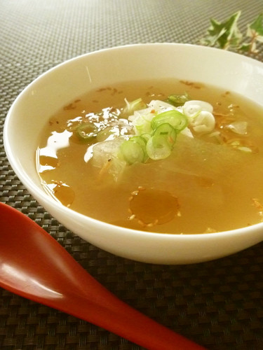 Chinese-Style Winter Melon and Sakura Shrimp Soup Flavored with Ginger