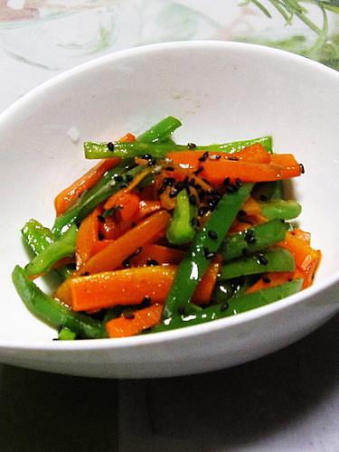 Salty Carrot and Green Pepper Kinpira Stir-Fry