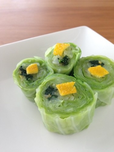 For Bentos! Leafy Vegetable, Yuzu and Bonito Flake Rolls