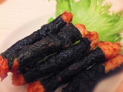 Fried Chicken (Tenderloin) Wrapped with Nori Seaweed, Great for Bento